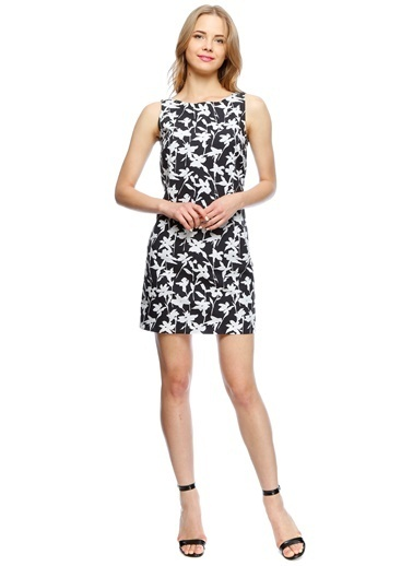 Beymen Studio Çiçek Desenli Mini Elbise Siyah